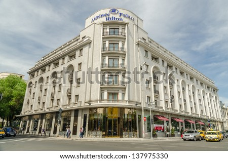 BUCHAREST, ROMANIA - MAY 09: Hilton Athenee Palace hotel On May 09, 2013 In Bucharest, Romania. Built in 1912 it has been Europe's most notorious den of spies in the years leading up to World War II.