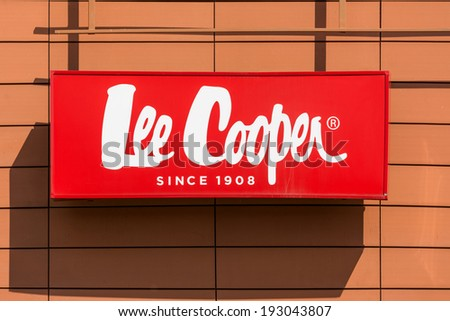 BUCHAREST, ROMANIA - MAY 11: Lee Cooper Store Sign on May 11, 2014 in Bucharest, Romania. Lee Cooper is a British clothing company that licenses the sale of many branded items, including denim jeans.
