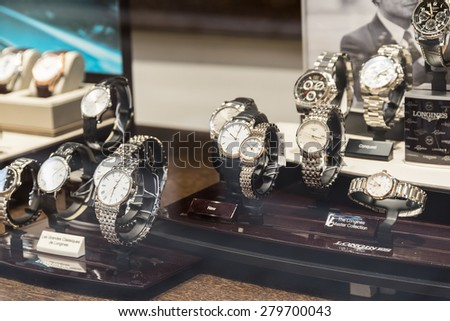 BUCHAREST, ROMANIA - MAY 19, 2015: Luxury Watches For Sale In Shop Window Display.