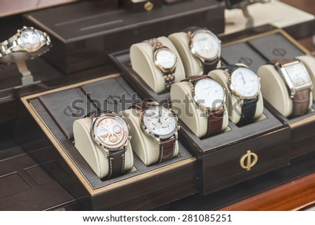 BUCHAREST, ROMANIA - MAY 24, 2015: Luxury Watches For Sale In Shop Window Display.