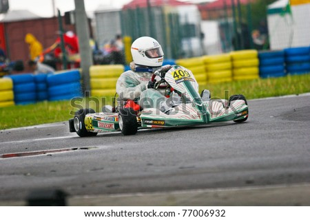 BUCHAREST, ROMANIA - MAY 8: Roberto Arcarese competes in South East European Karting Zone Championship on May 8, 2011 in Bucharest, Romania.