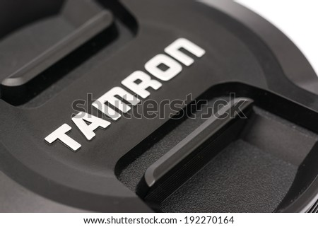 BUCHAREST, ROMANIA - MAY 12, 2014: Tamron Lens For Digital Single Lens Reflex Camera. Founded in 1950 is a Japanese company manufacturing photographic lenses, optical components and industrial optics.