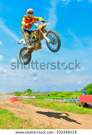BUCHAREST, ROMANIA - MAY 14: Unidentified rider participates at the third of the National Endurocross Championship, May 14, 2011 at Ciolpani, Bucharest, Romania