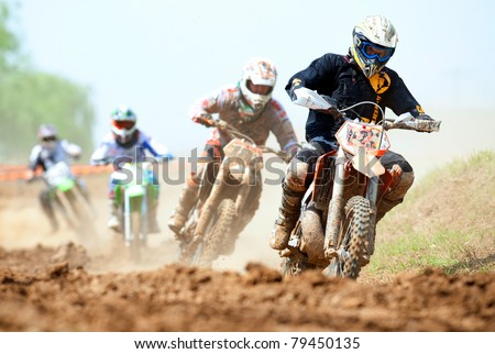 BUCHAREST, ROMANIA - MAY 14: Unidentified riders participate in the Third National Endurocross Championship on May 14, 2011 at Ciolpani in Bucharest, Romania