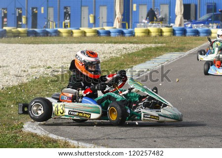 BUCHAREST, ROMANIA - NOV. 11: Kristopher Schlett, number 13, competes in Karting Cup Romania, on november 11, 2012 in Bucharest, Romania.