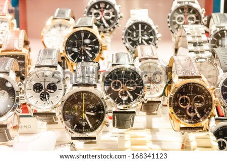 BUCHAREST, ROMANIA - NOVEMBER 16, 2012: Candino Watches In Shop Window Display. Candino Watches are currently owned by 1902 founded Festina, their watches are assembled by Citizen Watch Company.