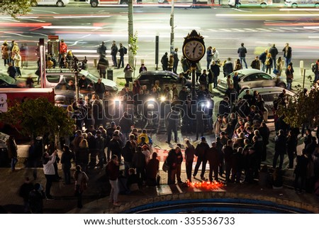 BUCHAREST, ROMANIA - NOVEMBER 04, 2015: People Gather In University Square And In Front Of National Theater On The Second Day Of Protest Against Corruption And Romanian Government. - Shutterstock ID 335536733