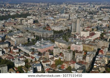 Bucharest, Romania, October 9, 2016: Aerial view of Universitatii Square