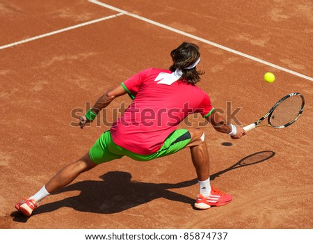 BUCHAREST, ROMANIA - SEPTEMBER 17: Tennis player in action during BRD Nastase Tiriac Trophy on September17, 2011 in Bucharest, Romania