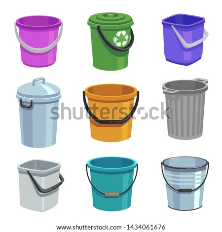 Bucket and pail set. Empty containers with handle, trash bins and buckets with water. Cartoon isolated set. Container bucket for garbage, illustration ストックフォト ©