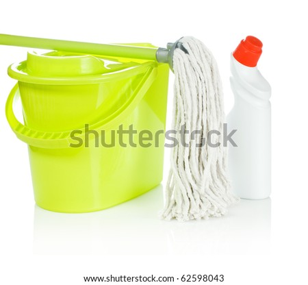 bucket bottle and mop
