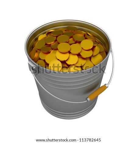 bucket full of gold coins over white background