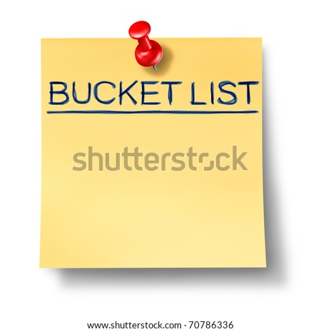 bucket list goals office note red thumb tack isolated idea thought agenda