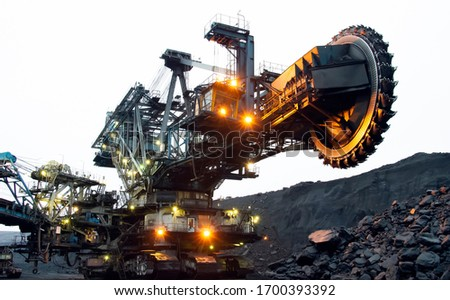 Bucket wheel excavator in a coal mine. Extraction of minerals. Stockfoto ©