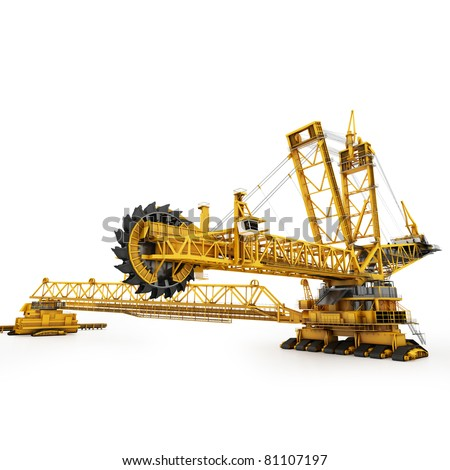 Bucket wheel excavator isolated on white