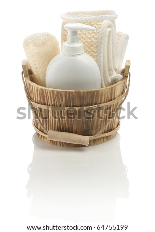 bucket with bathing accessories