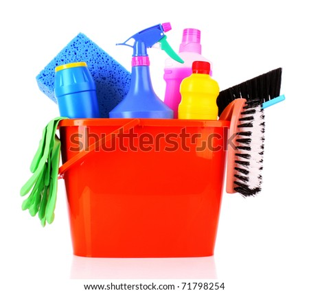 bucket with cleaning supplies isolated on white background