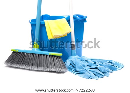 bucket with mop,  brush and gloves