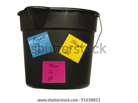 bucket with notes featuring things to do in the future with clipping path at original size