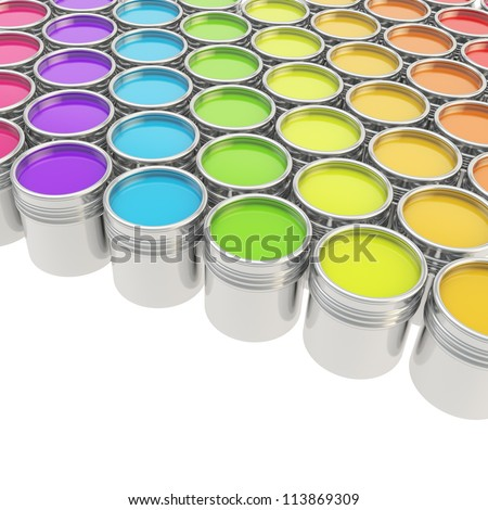 Buckets full of rainbow colored oil paint over white background
