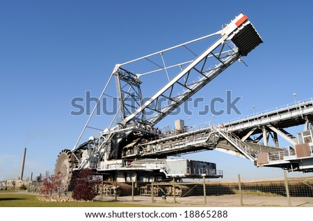 Bucketwheel reclaimer, used at oil sands mines in Alberta, Canada