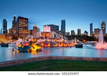 Buckingham Fountain. Image of Buckingham Fountain in Grant Park, Chicago, Illinois, USA.
