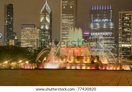 Buckingham Fountain in Chicago at Night, HDR.