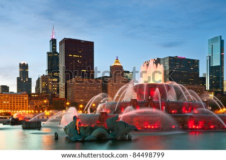 Buckingham Fountain in Grant Park, Chicago, Illinois, USA.