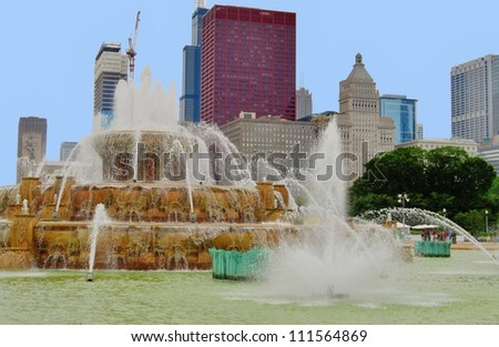 Buckingham Memorial Fountain at Downtown Chicago  Illinois, USA