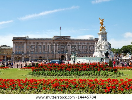 Buckingham Palace and gardens in a clear day