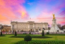 Buckingham Palace at sunrise in London, United Kingdom