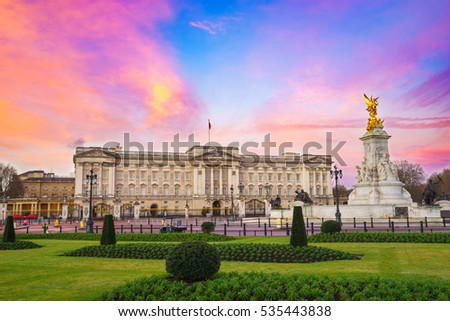 Buckingham Palace at sunrise in London, United Kingdom ストックフォト ©
