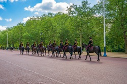 Buckingham palace guard parade during guard swap ceremony