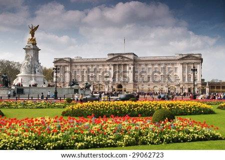 Buckingham Palace with crowed of visitors in spring time.