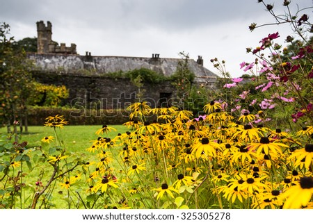 Buckland Monachorum, United Kingdom - October 8, 2015: Buckland Abbey, Garden and Estate, a National Trust property in Devon and former home to Sir Francis Drake and Cistercian monks.