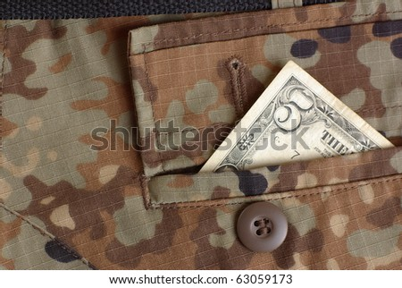 bucks in the uniform pocket