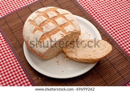 Buckwheat bread loaf on a kitchen table