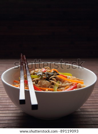 Buckwheat noodles with chicken and vegetables in Japanese style