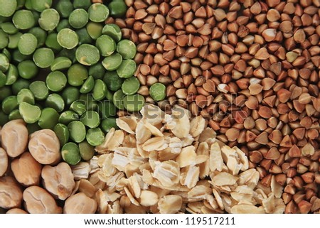 buckwheat oatmeal grains background