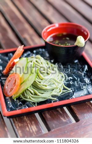 buckwheat zaru soba noodle japanese traditional food - stock photo