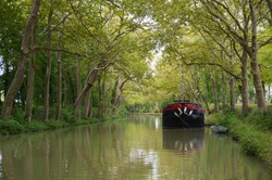 Bucolic atmosphere and green tones by the 18th century Canal du Midi, with a river boat on the reflecting green water and a tunnel or vault of trees, in Montferrand, Lauragais, near Toulouse, France