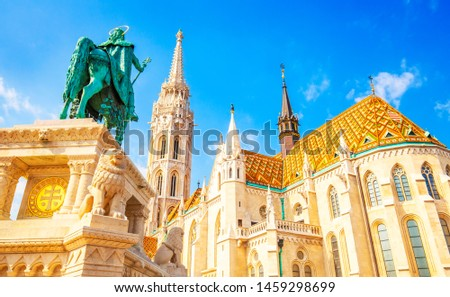 Buda castle and St Matthias Church in Budapest, Hungary #1459298699