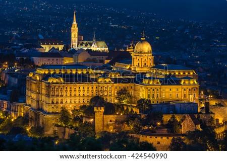 Buda Castle as seen from Gellert Hill in Budapest