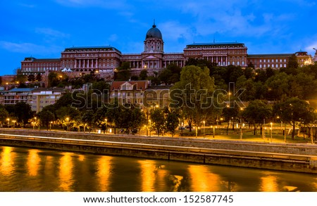 Buda Castle,Budapest, at dawn, seen from the other side of the Danube river