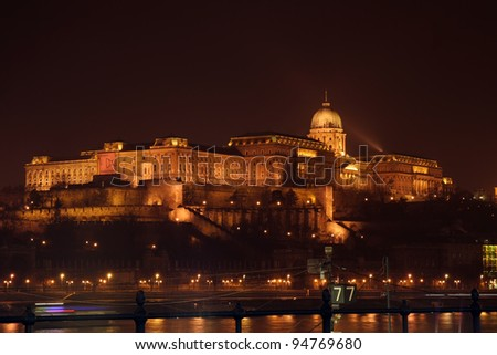 Buda castle night view, Budapest, Hungary. Night view at Royal Palace over Danube river in Budapest, Hungary.