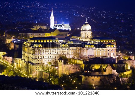 Buda Castle or Royal Palace and city at night in Budapest