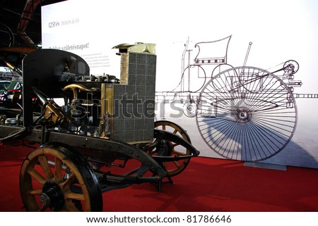BUDAPEST-APRIL 15: 1924's Daimler Mercedes chassis before sketch of first car on stand of Mercedes at the 5th Oldtimer Expo on April 15, 2011 in Budapest, Hungary