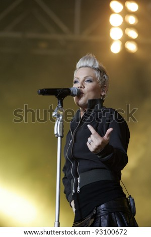 BUDAPEST - AUG 10: Alicia Moore, aka the singer Pink, performs at the annual Sziget Festival in Budapest, Hungary, on Friday, August 10, 2007. - stock photo