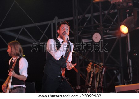 BUDAPEST - AUG 14: The Killers perform in concert at the annual Sziget Festival in Budapest, Hungary, on Tuesday, August 14, 2007.