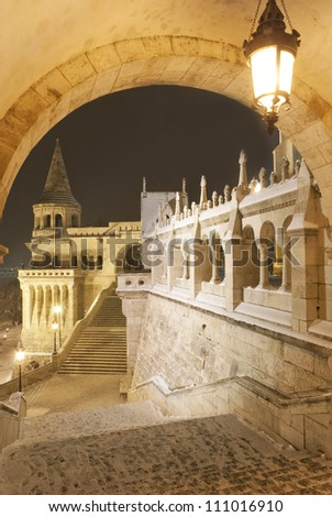 Budapest by night: fisherman's bastion at winter